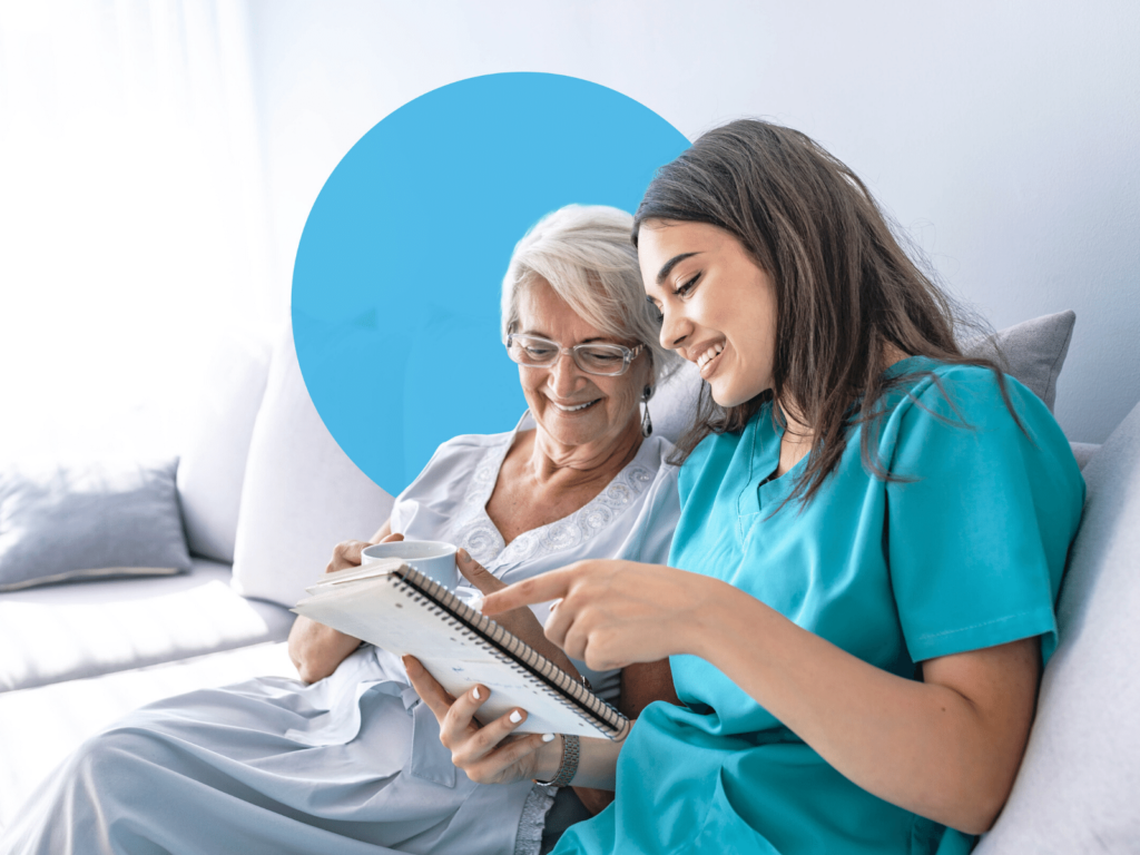 Decorative image of a carer and a patient